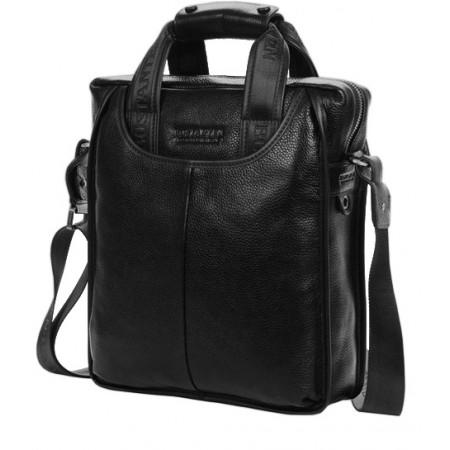 Вертикальная мужская сумка из натуральной кожи А4 Bostanten (bs0101-1black)