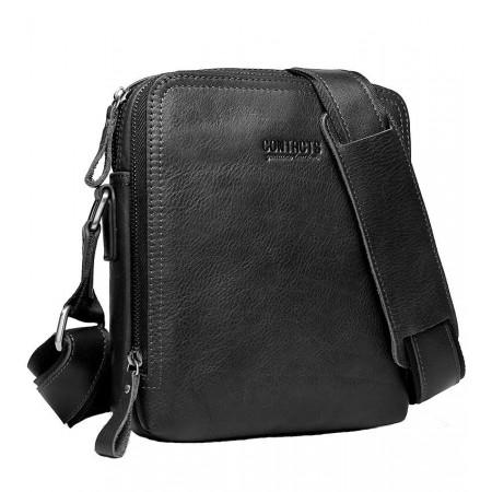 Кожаная мужская сумка-планшет черная Contact's (cs0202-1black)