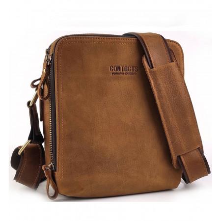 Мужская сумка - планшет кожа Contact's (cs0202brown)