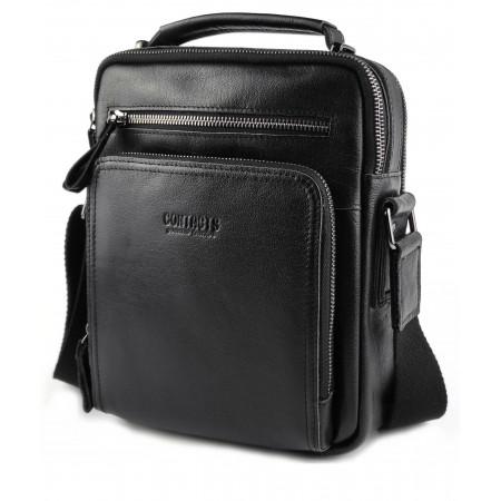 Кожаная мужская сумка с ручкой черная Contact's (cs0203-1black)