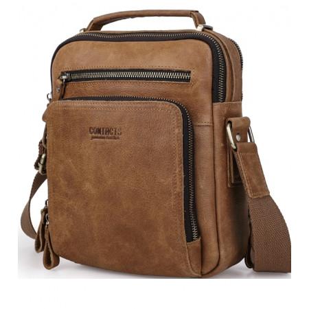 Мужская сумка кожаная коричневая Contact's cs0203brown