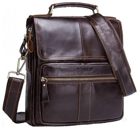 Кожаная мужская винтажная сумка Contact's (cs0206brown)