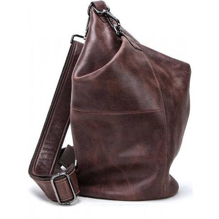 Кожаная мужская сумка-рюкзак (слинг) через плечо Contact's (cs0219brown)