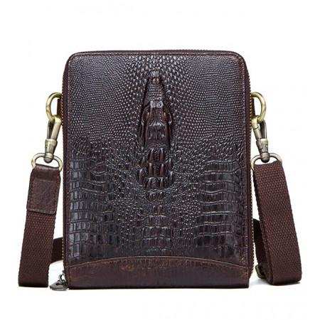 Кожаная мужская сумка под крокодила Franco Rossi (fr0003brown)