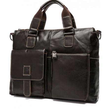 Мужская кожаная сумка коричневая Franco Rossi (fr0008brown)