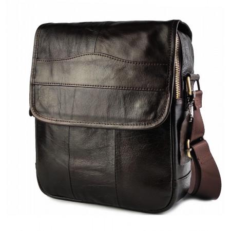 Кожаная мужская презентабельная сумка через плечо Franco Rossi (fr00N20brown)
